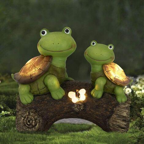 Statue de jardin Tortues Figurine - Sculpture animale mignonne de tortues de visage de grenouille avec des lumières LED solaires pour les décorations extérieures d'intérieur, ornements de pelouse de patio, cadeaux pour maman, 10,2 x 8,5 pouces