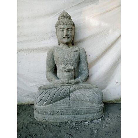 statue de jardin zen bouddha assis bol 100cm