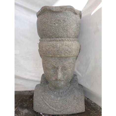 Statue déesse balinaise en pierre volcanique pot jardin 80 cm