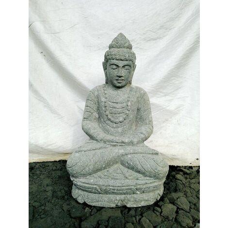 Statue d\'extérieur zen Bouddha pierre volcanique position offrande 50 cm