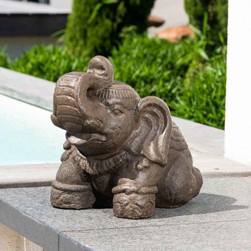 Statue eléphant assis 40cm brun antique