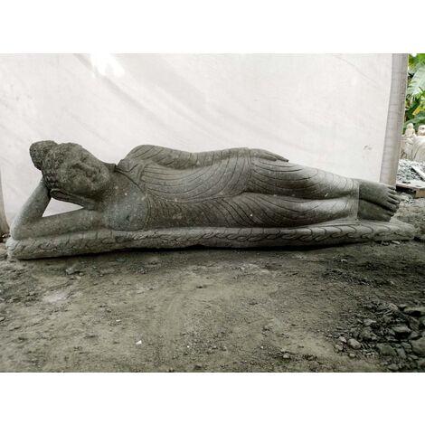 Statue en pierre volcanique Bouddha allongé de jardin 2 m
