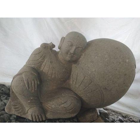 Statue extérieur de jardin zen moine shaolin en pierre 1 m