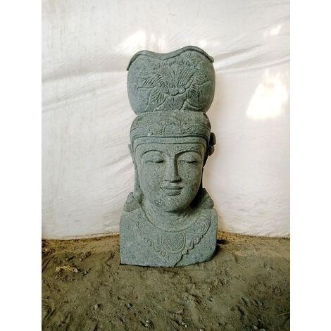 Statue exterieur pot déesse balinaise en pierre naturelle 80 cm