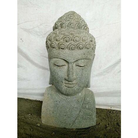 statue extérieur zen Buste de Bouddha en pierre volcanique 70 cm