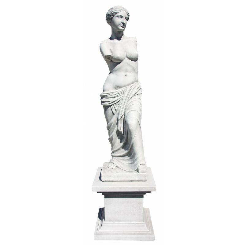 Statue Gretta Dame avec piédestal 42x42x206cm. Béton Gris Pierre