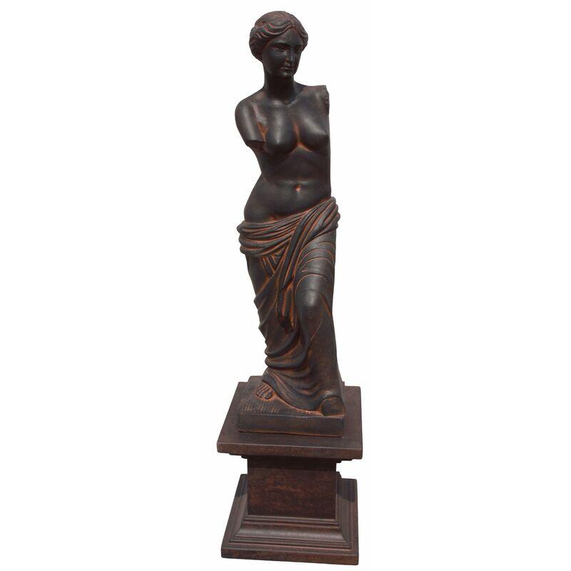 Statue Gretta Dame avec piédestal 42x42x206cm. Pierre reconstituée oxyde