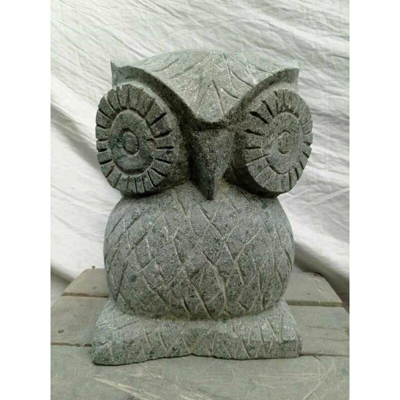Statue hibou en pierre naturelle 30 cm