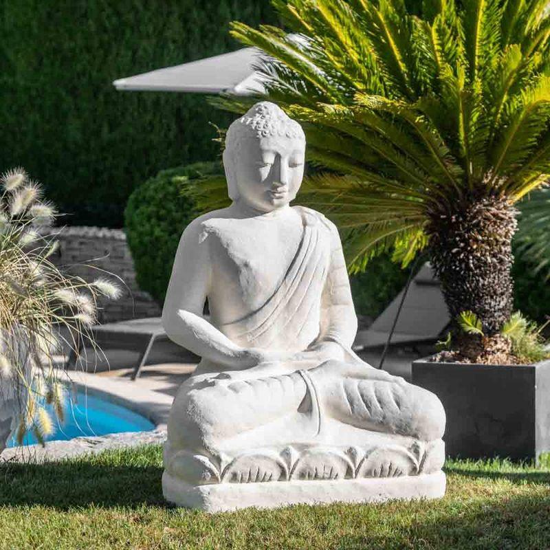 Statue jardin bouddha assis fibre de verre offrande 105cm blanc