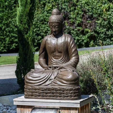 Statue jardin Bouddha assis fibre de verre position chakra 150cm brun