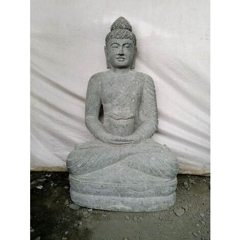 Statue jardin Bouddha assis pierre volcanique bol 1m20