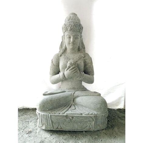 Statue jardin en pierre volcanique déesse balinaise fleur 1m