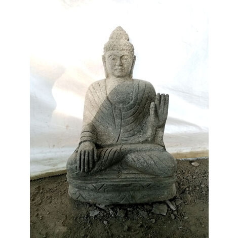 Statue jardin exterieur Bouddha assis pierre volcanique abhaya mudrã 50 cm