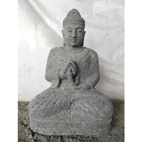Statue jardin exterieur Bouddha assis pierre volcanique collier 50 cm
