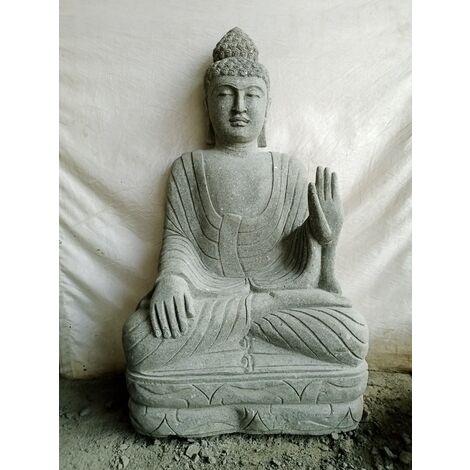 Statue jardin exterieur Bouddha assis pierre volcanique meditation 1m20
