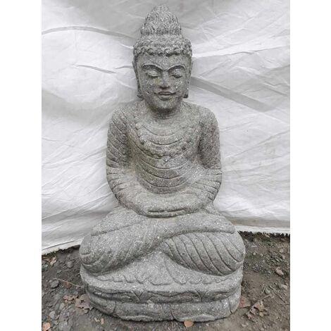 Statue jardin extérieur Bouddha assis pierre volcanique position offrande 50 cm