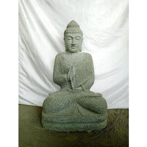 Statue jardin zen Bouddha pierre position offrande et chapelet 1m