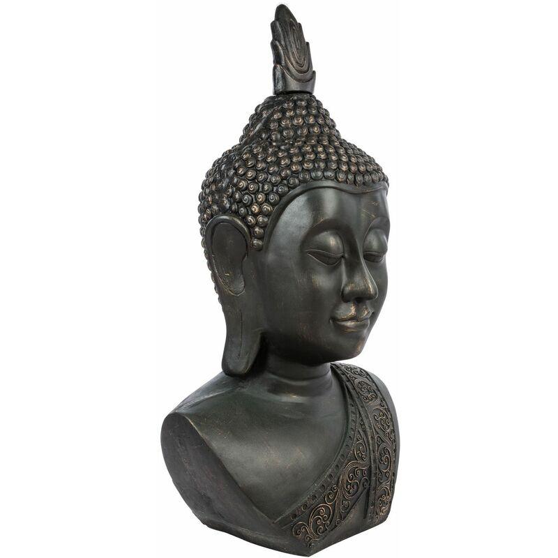 Statue Tête de Bouddha - H. 1,13 m. - Pierre - Noir