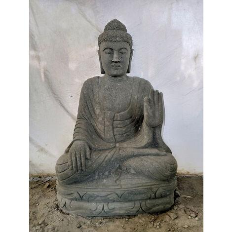 Statue ZEN Bouddha assis pierre volcanique position méditation 1m