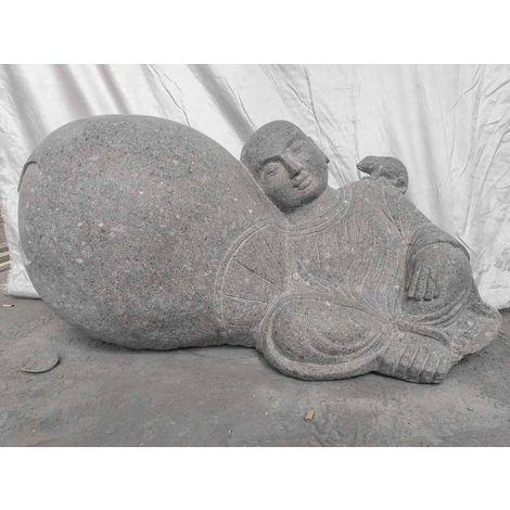 Statue zen en pierre de jardin moine Shaolin 1 m