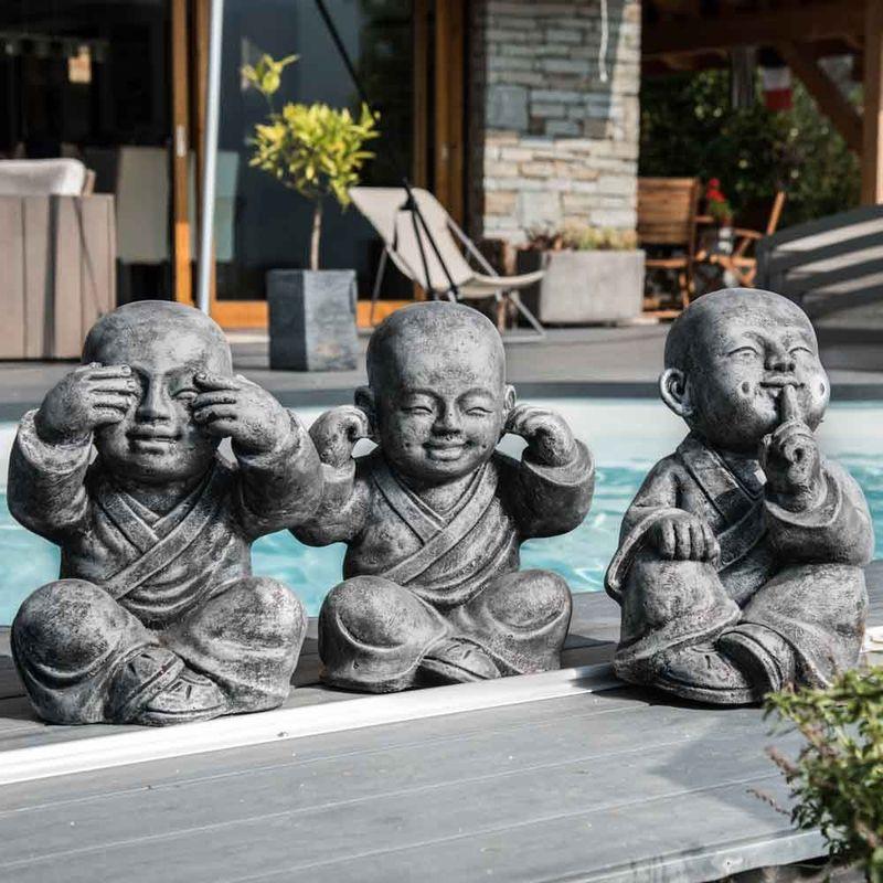 Statues moine de la sagesse patiné gris 40 cm