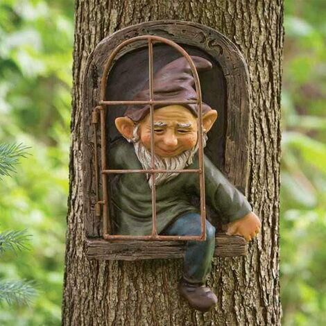"""main image of """"Statues Pour Jardin,Sculptures et Statues de Jardin,Gnomes Décorations De Jardin Lunatique Arbre Sculpture Décoration De Jardin Résine Miniature Jardin Gnomes Elf Sortie Le Porte Tree Hugger"""""""