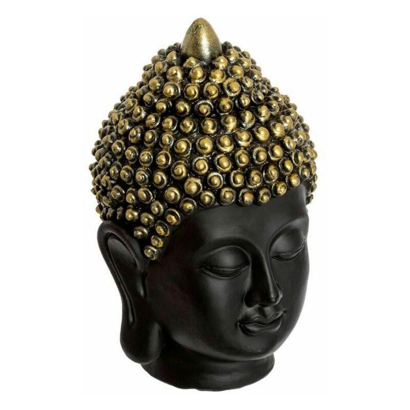 Statuette Déco Tête de Bouddha 18cm Noir