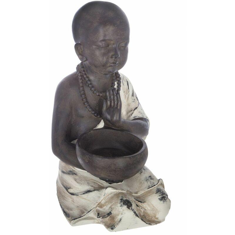 Statuette de Bouddha assis - H. 34 cm - Gris - Gris
