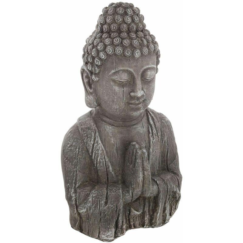 Statuette de Bouddha - H. 49 cm - Effet bois - Gris