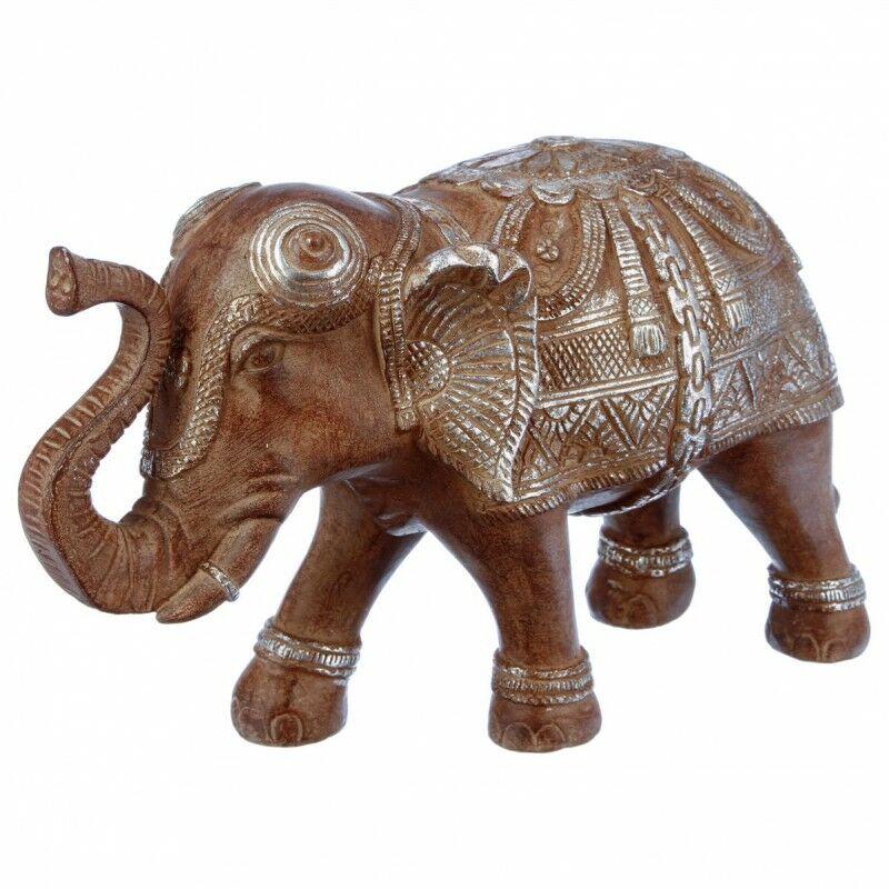 Atmosphera,créateur D'intérieur - Statuette Éléphant en Résine 19cm Marron