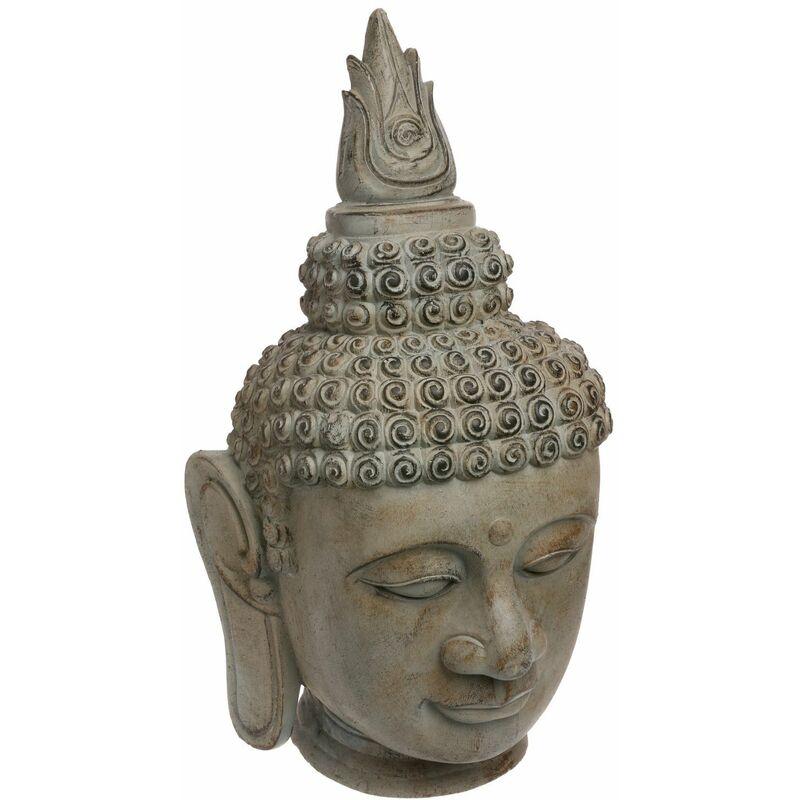Statuette tête de Bouddha - H. 65 cm - Effet pierre - Marron