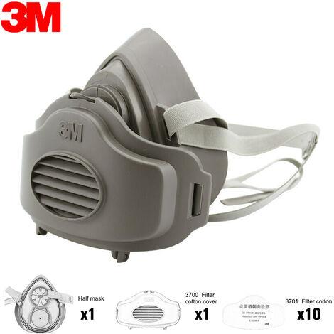 Staubmaske in drei Teile 3M 3200-Halbmaske + anti-Staubfilter Baumwolle 3701 * 10 + Deckel Baumwollfilter 3700 * 1