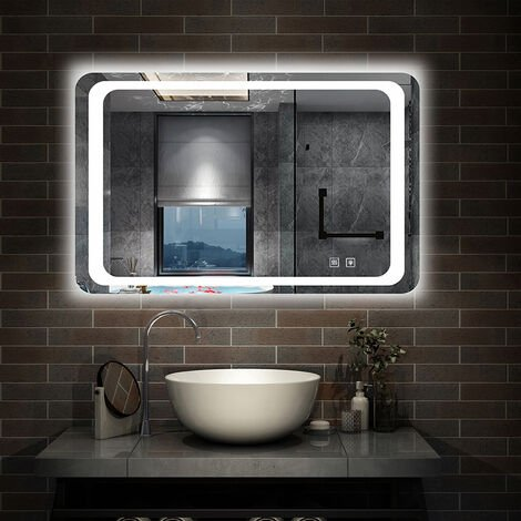 Steam free Bathroom Mirrors with LED Lights 3 Sensor Switches Optional Wall Mounted