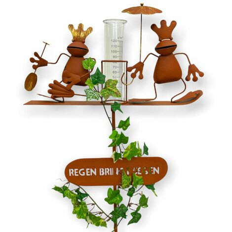 "Stecker Regenmesser 23302 aus Metall ""Wetterfrosch"" 140 cm Frosch Gartenstecker"