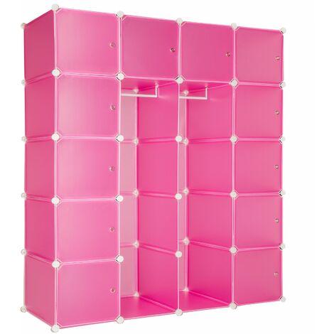 Steckregal 12 Boxen mit Türen inkl. Kleiderstangen - Regalsystem, Cube Regal, Haushaltsregal - pink - rosa