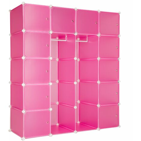 Steckregal 12 Boxen mit Türen inkl. Kleiderstangen - Regalsystem, Cube Regal, Haushaltsregal