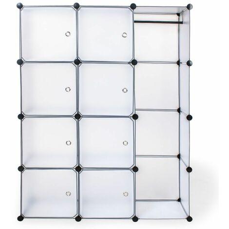 Steckregal 8 Boxen mit Türen inkl. Kleiderstange - Regalsystem, Cube Regal, Haushaltsregal