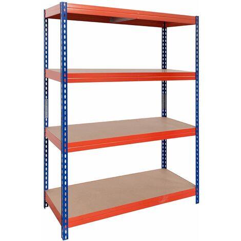 Steckregal mit Spanplatte, 180X90X45cm, 4 Böden, 300kg pro Boden, blau-orange - Blau/Orange