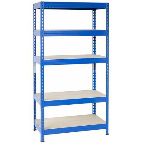 Steckregal mit Spanplatte 200x100x60cm, 5 Böden, 165kg pro Boden, blau