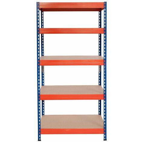 Steckregal mit Spanplatte 200x100x60cm, 5 Böden, 165kg pro Boden, blau-orange - Blau/Orange