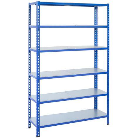 Steckregale aus Metall L Profil, 200X120X50cm, 6 Böden, 180kg - Blau/Verzinkt