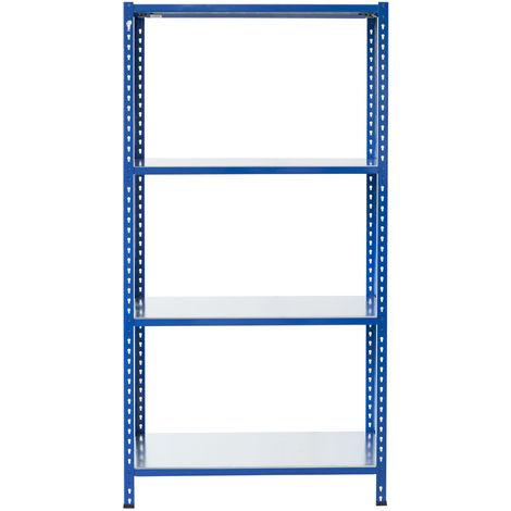Steckregale aus Metall L Profil, 200X60X30cm, 4 Böden, 180kg - Blau/Verzinkt