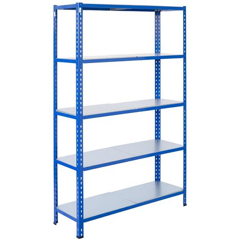Steckregale aus Metall L Profil, 250X120X50cm, 5 Böden, 180kg - Blau/Verzinkt