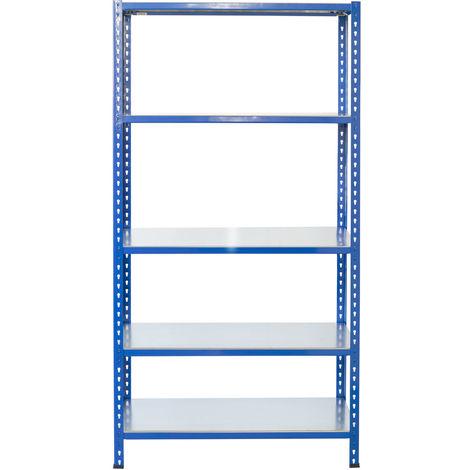 Steckregale aus Metall L Profil, 250X60X40cm, 5 Böden, 180kg - Blau/Verzinkt