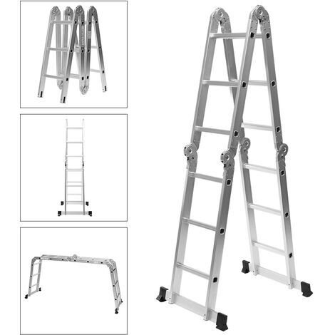 Steel Extension Ladders Folding Telescoping Strong Metal A-Frame Straight Steps