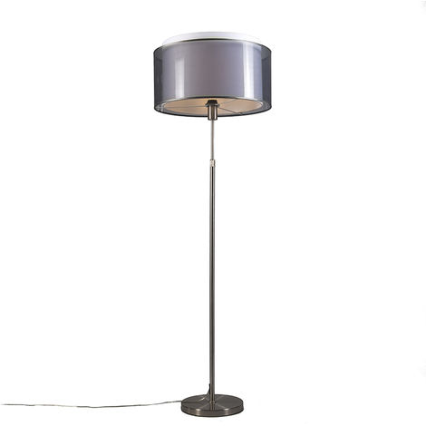Floor Lamp Steel with 47cm Black/White Shade - Parte