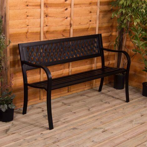 """main image of """"Steel Garden Bench, Lattice"""""""