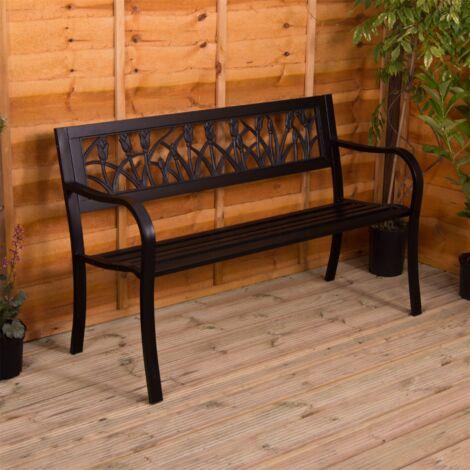 """main image of """"Steel Garden Bench, Tulip"""""""