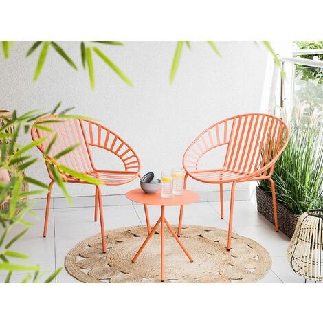 Steel Garden Bistro Set Orange LICATA