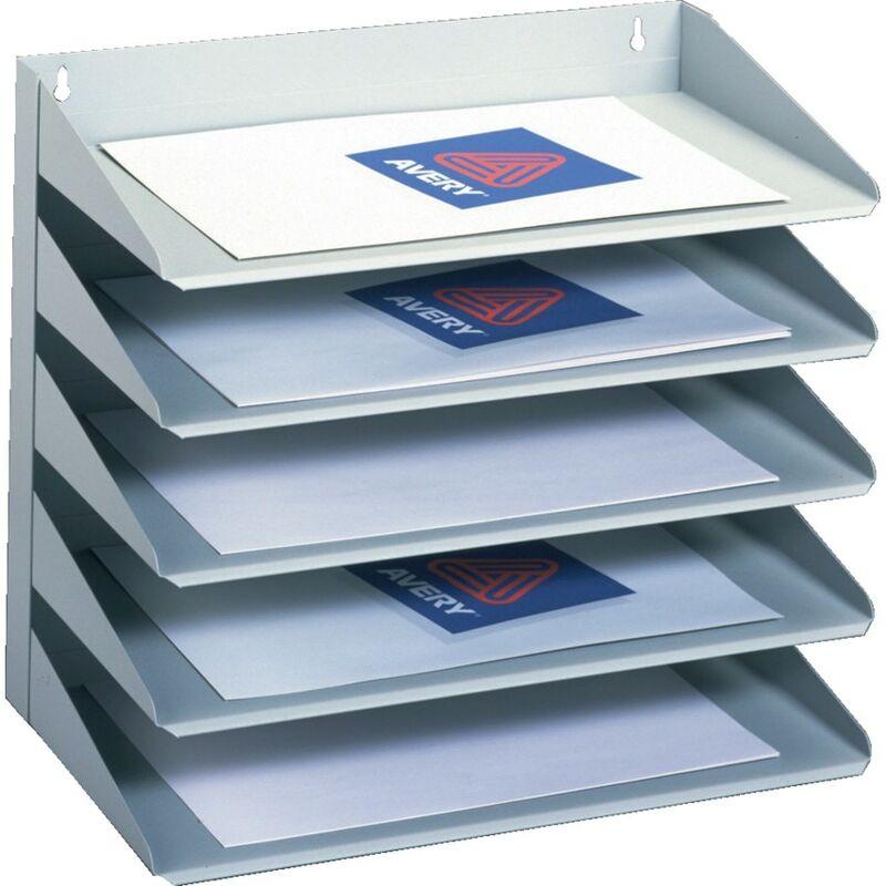 Image of Steel Letter Rack 5 Tier Grey - Avery Dennison